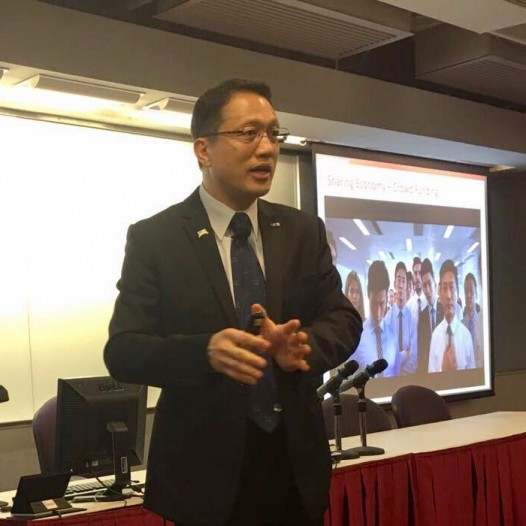 "(HK) Dr. Lawrence Wong spoke about ""Sharing Economy and Outcome Economy in the Big Data Era"" at a PMI seminar."