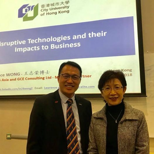 "(HK) Dr. Lawrence Wong spoke on ""Disruptive Technologies & their impacts to the Business World""."